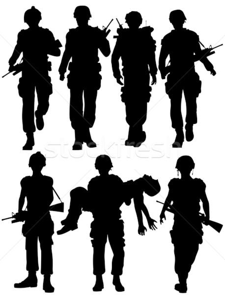 Сток-фото: солдаты · набор · вектора · ходьбе