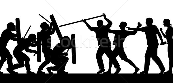 Mob fighting police silhouette Stock photo © Tawng