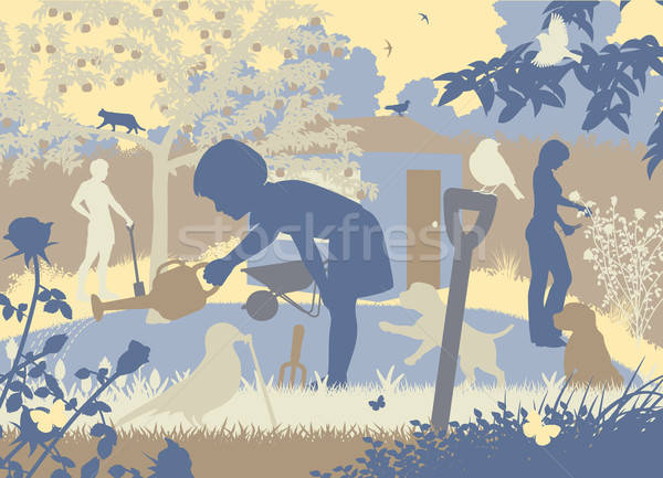 Jardinage famille eps8 vecteur Photo stock © Tawng