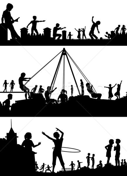 遊び場 フォアグラウンド シルエット セット eps8 ストックフォト © Tawng