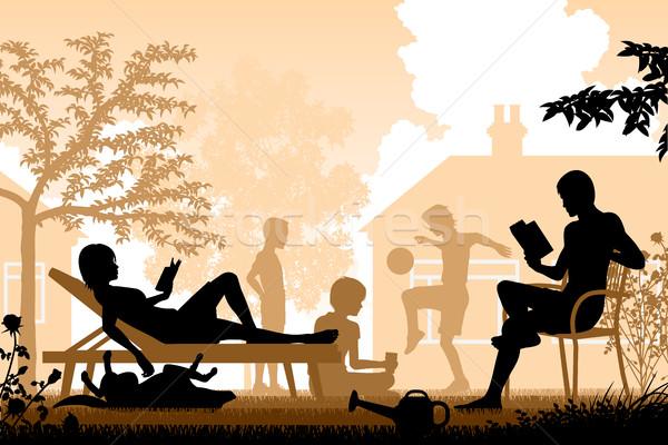 Zomer familie ontspannen tuin kinderen Stockfoto © Tawng