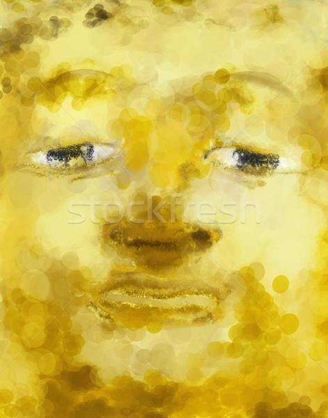 Buda cara pintura dorado estatua ojos Foto stock © Tawng