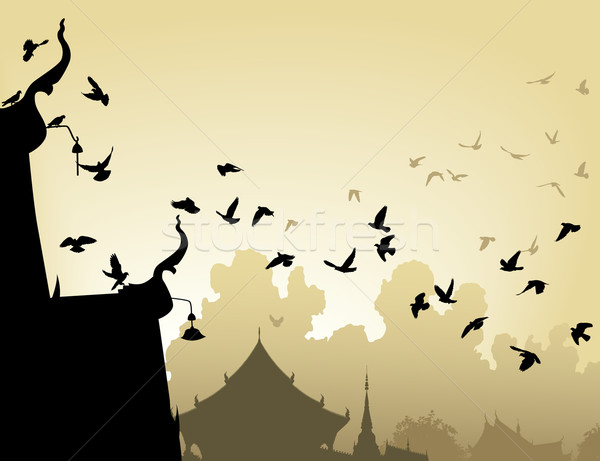 Temple pigeons Stock photo © Tawng