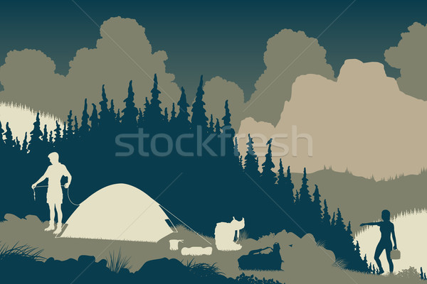 Wilderness camp Stock photo © Tawng