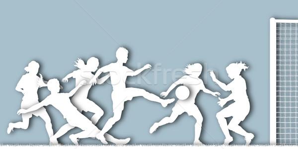 女性 サッカー カットアウト シルエット アクション サッカー ストックフォト © Tawng