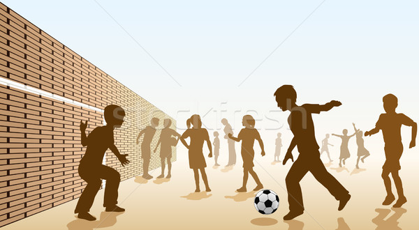 Сток-фото: футбола · детей · играет · площадка · школы