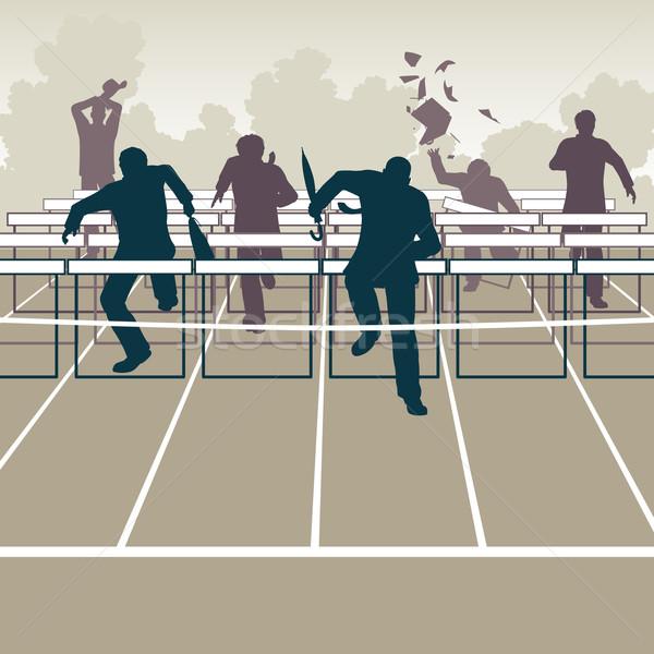 Businessmen hurdles Stock photo © Tawng