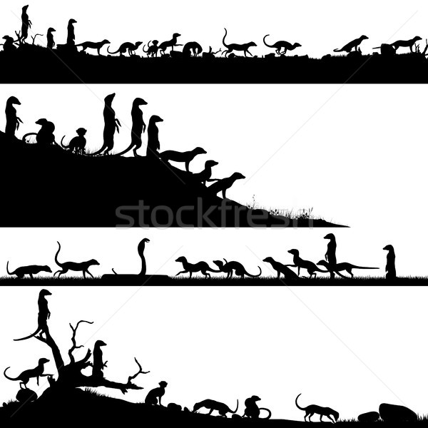 Ingesteld vector voorgrond silhouetten afrikaanse Stockfoto © Tawng