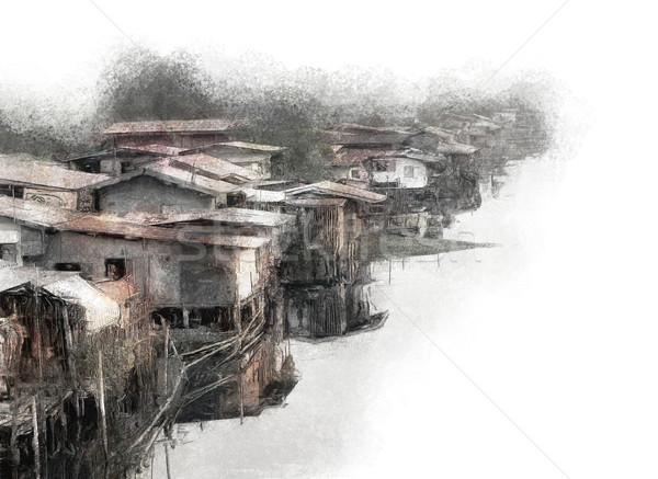 Nyomornegyed festmény közösség Bangkok szennyezés szegénység Stock fotó © Tawng