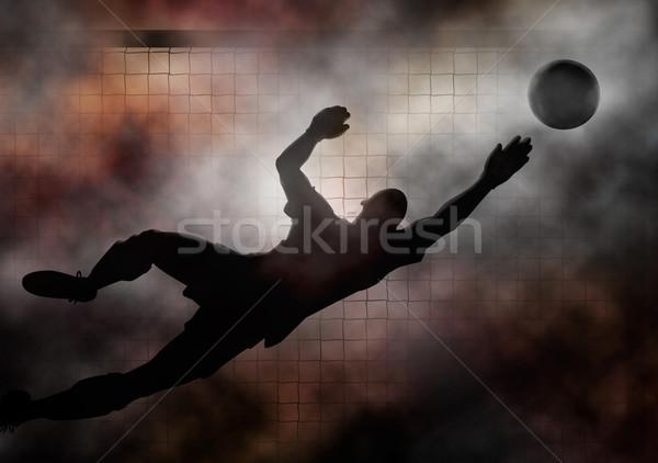 Portero dramático ilustración fútbol buceo guardar Foto stock © Tawng