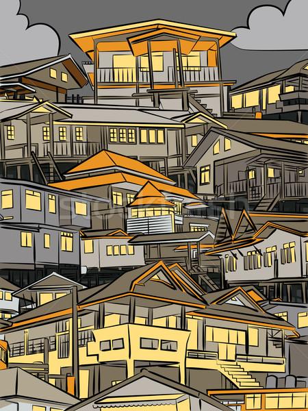 Stock fotó: éjszaka · házak · szerkeszthető · domboldal · épületek · városkép