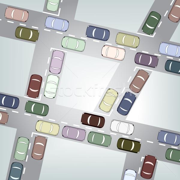 Verkeer drukke auto snelweg stedelijke Stockfoto © Tawng