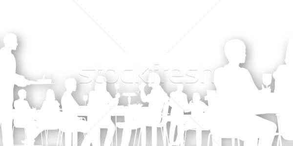 Stockfoto: Dining · vector · mensen · restaurant