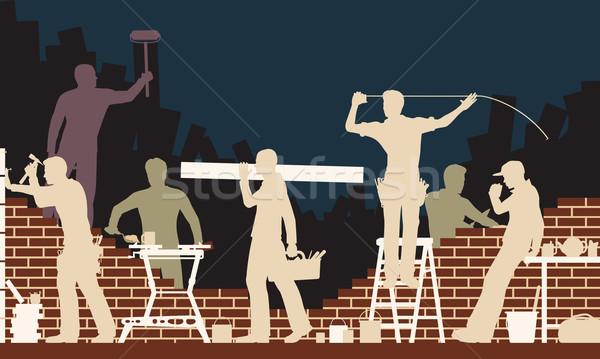 Budowniczych wektora kolorowy ilustracja budowy Zdjęcia stock © Tawng