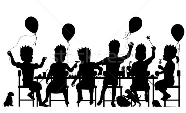 Girls party silhouette Stock photo © Tawng