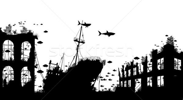 Düzenlenebilir vektör ön plan siluet deniz Stok fotoğraf © Tawng