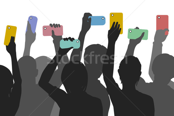 Citoyen smartphone journalisme vecteur silhouettes Photo stock © Tawng