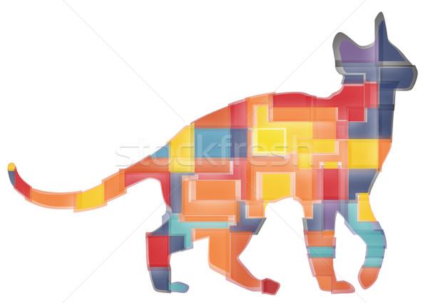 Macska terv színes absztrakt mozaik házimacska Stock fotó © Tawng