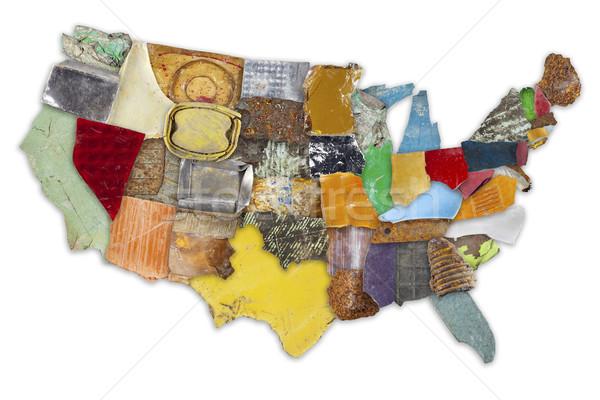 Prullenbak kaart USA toevallig stukken kleurrijk Stockfoto © Tawng