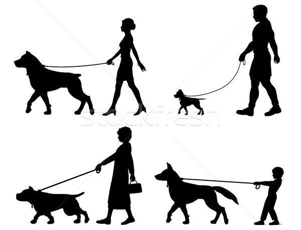 Kutya tulajdonos választék szerkeszthető vektor sziluettek Stock fotó © Tawng