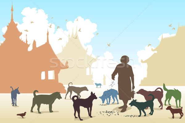 Temple dog woman Stock photo © Tawng
