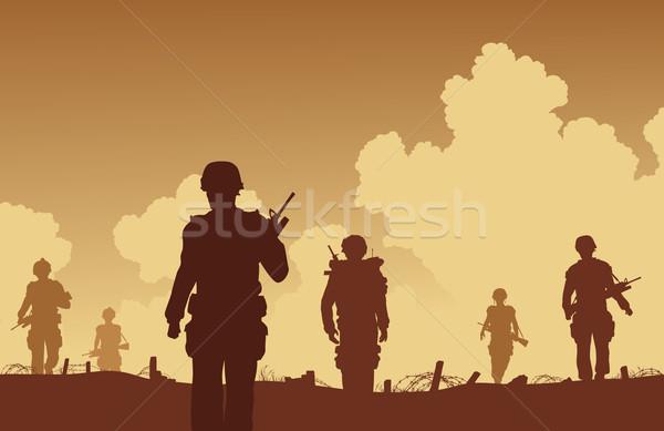 солдаты ходьбе силуэта солдата армии Сток-фото © Tawng