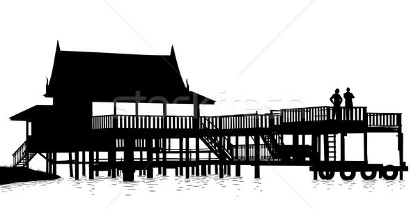Eau terrasse vecteur silhouette bois Photo stock © Tawng