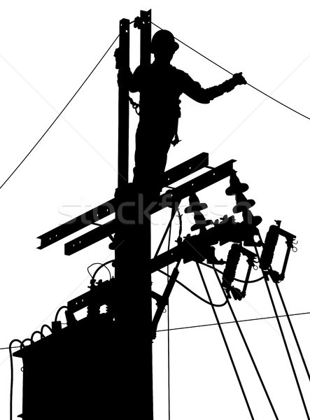 Electricity utility worker silhouette Stock photo © Tawng