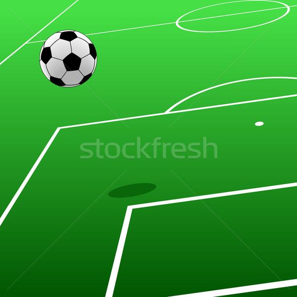 Voetbal toonhoogte sport groene bal Stockfoto © Tawng