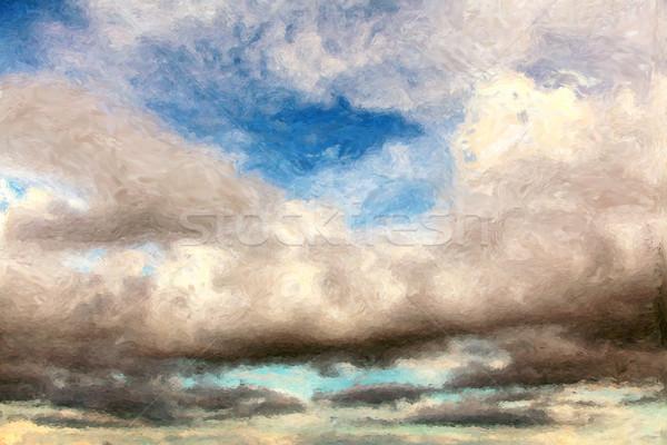 Gökyüzü Boyama Bulutlu Doğa Hava Durumu Stok Fotoğraf