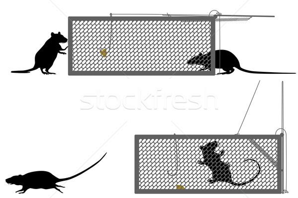Ratto trappola silhouette grafica gabbia Foto d'archivio © Tawng