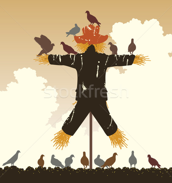 Scarecrow pigeons Stock photo © Tawng