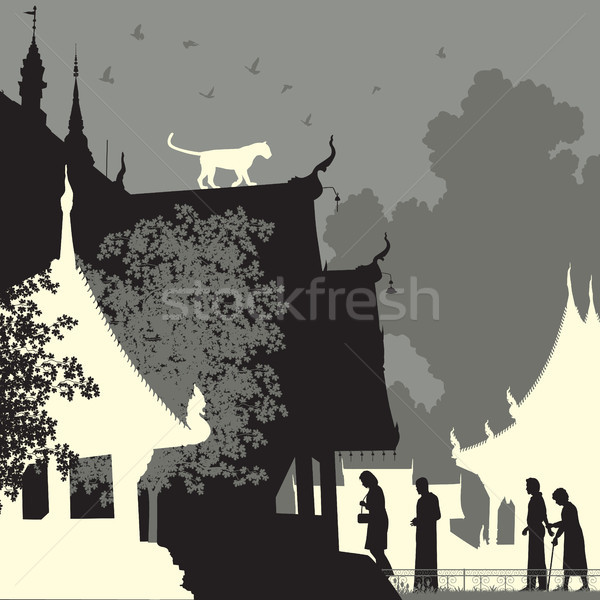 Luipaard tempel vector silhouet Stockfoto © Tawng