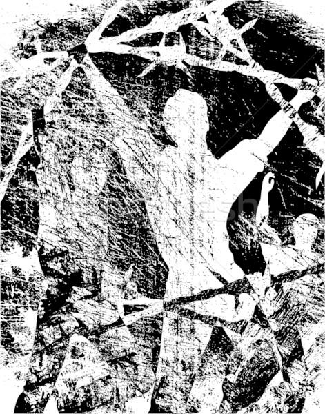 Flucht Grunge editierbar Vektor Männer Stacheldraht Stock foto © Tawng