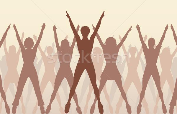 Dans vrouwen silhouetten oefening Stockfoto © Tawng