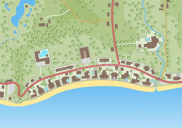 Düzenlenebilir genel harita özel plaj gayrimenkul Stok fotoğraf © Tawng
