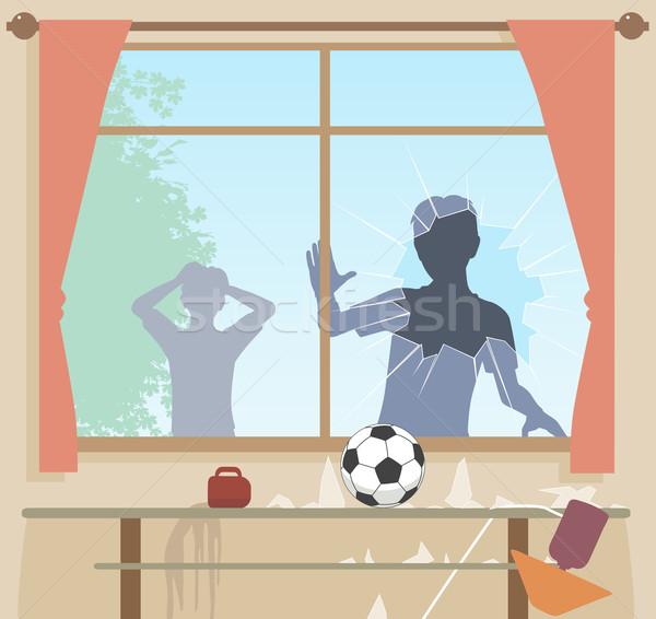 Football breaks window Stock photo © Tawng