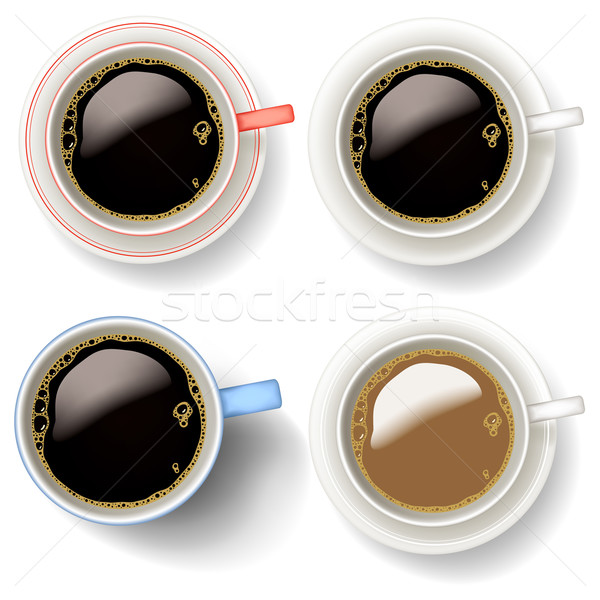 Koffiekopjes vector illustraties mok helling Stockfoto © Tawng
