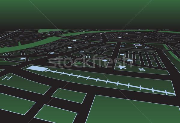Grünen Straßenkarte Vektor city night Stadt Stock foto © Tawng
