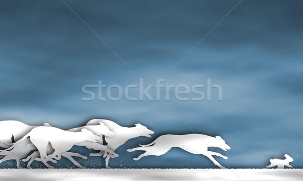Greyhound race cutout Stock photo © Tawng
