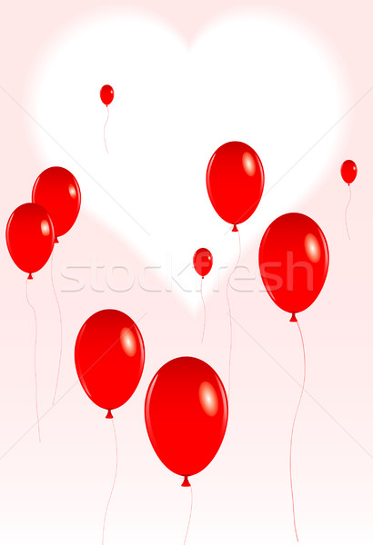 Valentine balonlar örnek grup kırmızı Stok fotoğraf © tdoes