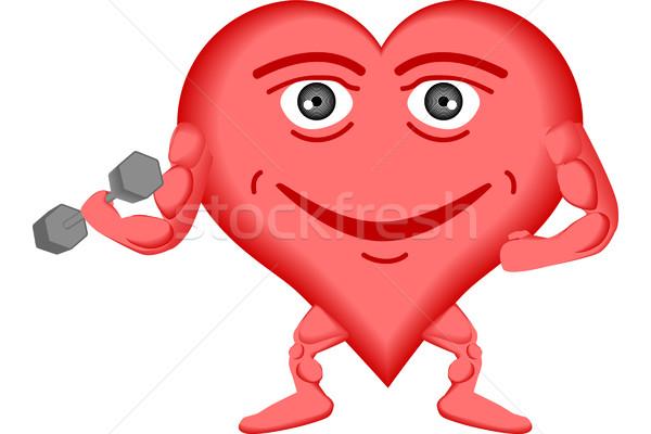 Szív egészséges egészséges szív emel súlyok fitnessz Stock fotó © tdoes