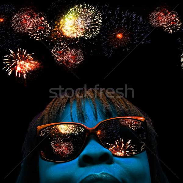 face and fireworks Stock photo © tdoes