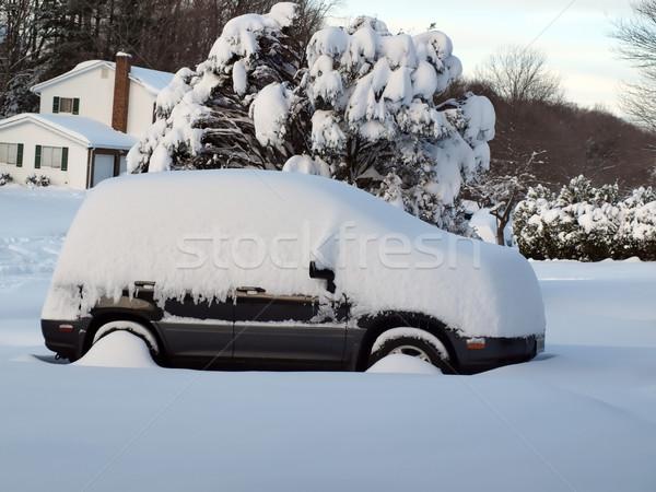 Kar kapalı araç fotoğraf ev özel araba yolu Stok fotoğraf © tdoes