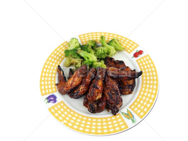 Frango asa jantar refeição brócolis prato Foto stock © tdoes