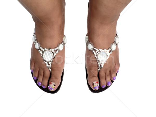 Láb afroamerikai nő visel szandál izolált Stock fotó © tdoes