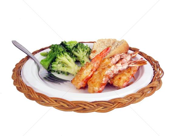 фаршированный креветок обеда краба мяса изолированный Сток-фото © tdoes