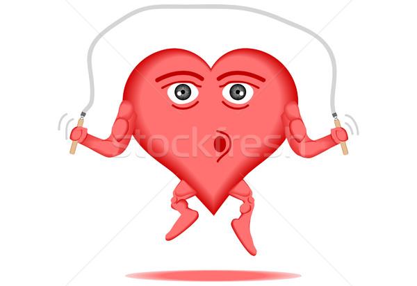 Szív egészséges egészséges szív ugrókötél fitnessz piros Stock fotó © tdoes