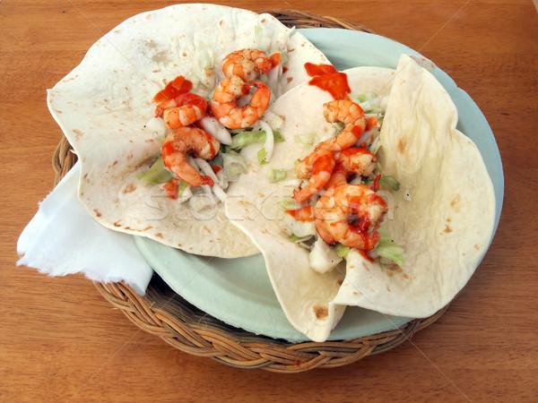 Camarão tacos prato mesa de madeira comida cor Foto stock © tdoes