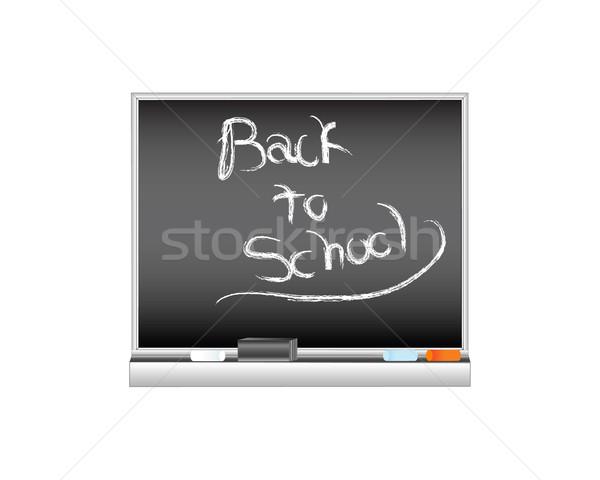 Iskola iskolatábla vektor ünnepel kezdet év Stock fotó © tdoes